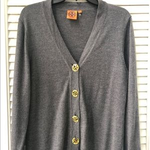 Tory Burch Gray Merino Wool Cardigan